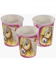 Pappbecher Pferde Kindergeburtstag Deko 8 Stück hellgrün-rosa