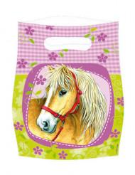 Partytüten Pferde Geschenktüten Kindergeburtstag Deko 6 Stück hellgrün-rosa