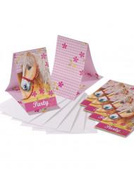 Einladungskarten Pferde Kindergeburtstag-Deko 6 Stück hellgrün-rosa