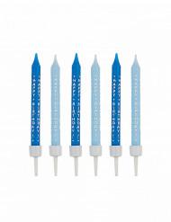 Geburtstagskerzen Happy Birthday 10 Stück blau-weiss