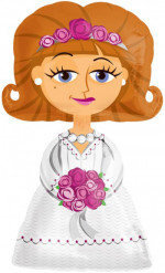 Braut-Luftballon Hochzeits-Deko weiss-braun-pink 122x71cm