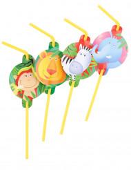 Trinkhalm-Set Safari Kindergeburtstag-Deko 8 Stück bunt