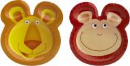 Tier-Pappteller Safari Kindergeburtstag-Deko 6 Stück bunt 25cm