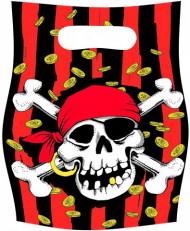 Partytüten Geschenktüten Totenkopf Skull Piratenparty Deko 6 Stück rot-schwarz-weiss 16,5x23,3cm