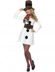 Schneefrau Damenkostüm Weihnachten weiss-braun