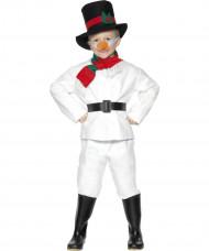 Kinderkostüm Schneemann Anzug weiss-schwarz-rot