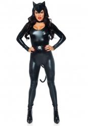 Sexy Katze Damenkostüm Catsuit schwarz