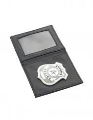 Polizeimarke in Geldbeutel Polizist Accessoire schwarz-silber 10x9cm