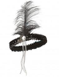 20er Pailletten-Haarband mit Feder schwarz