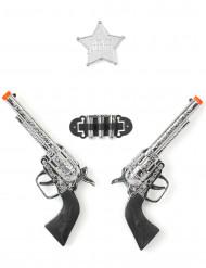Sheriff-Set mit Pistolen und Stern silber-schwarz