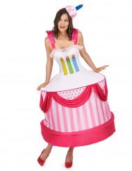 Geburtstagstorte Damenkostüm Karneval weiss-bunt