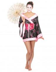 Edles Geisha Damen-Kostüm schwarz-rosa