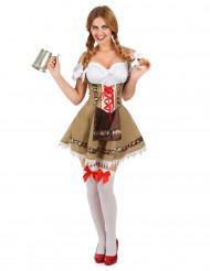 Dirndl Kostüm für Damen Trachtenkleid beige-bunt