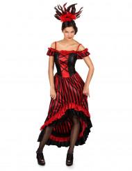 Cabarettänzerin Damen-Kostüm rot-schwarz