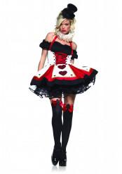 Sexy Herzkönigin Damenkostüm Dirndl schwarz-rot-weiss