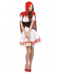 Süsses Rotkäppchen Damenkostüm Märchen weiss-schwarz-rot