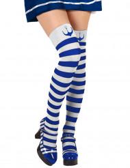 Damenstrümpfe Overknees Matrosin blau-weiß