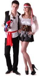Wilde Piraten Paarkostüm für Erwachsene schwarz-weiss