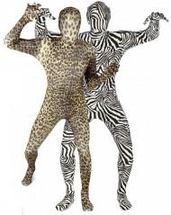 Morphsuits Zebra- und Leopardenkostüm für Paare schwarz-weiß und braun