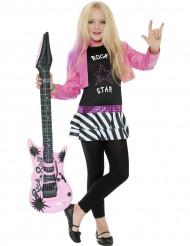 80er Rockstar Popstar Mädchen Kinderkostüm pink-schwarz-weiss