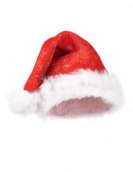 Weihnachtsmann-Mütze Pailletten Nikolaus weiss-rot