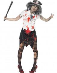Zombie Polizistin Halloween Damenkostüm schwarz-weiss-rot