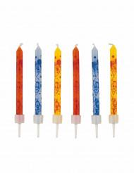 Micky Maus Torten-Kerzen 12 Stück orange-blau-gelb 6cm