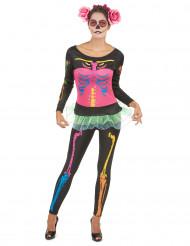 Neon Skelett Halloween-Damenkostüm schwarz-bunt