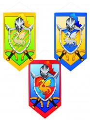 Mittelalterliches Ritter-Wappen Party-Deko rot 45x25cm