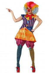 Lustige Clownfrau Damenkostüm Zirkus Plus Size bunt