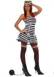 Sexy Sträfling Damenkostüm Gefangene weiss-schwarz