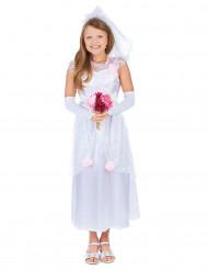 Kleine Braut Kinderkostüm mit Schleier weiss