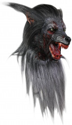Horror-Werwolf Halloween-Maske grau