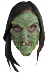 Märchen-Hexe Maske grün-schwarz