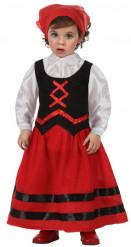 Mittelalterliche Magd Kinderkostüm rot-schwarz-weiss