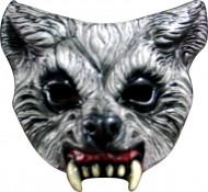 Wolf Halb-Maske Werwolf Halloween Kostümaccessoire  grau