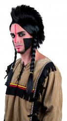 Indianer-Perücke mit Zöpfen und Iro schwarz