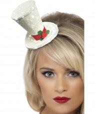 Mini-Hut Weihnachten Glitzer-Zylinder weiss-rot-grün