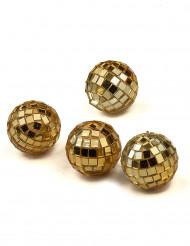Party Zubehör Mini Discokkugeln 4 Stück gold 3,5cm