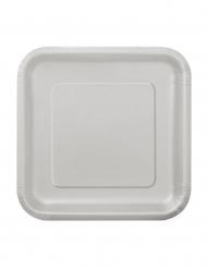 Party Pappteller quadratisch klein 16 Stück silber 18cm
