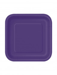 Party Pappteller quadratisch klein 16 Stück lila 18cm