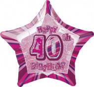 Happy Birthday Stern Luftballon 40 Jahre pink