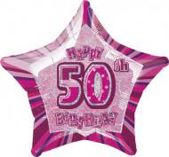 Happy Birthday Stern Luftballon 50 Jahre pink