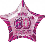 Happy Birthday Stern Luftballon 60 Jahre pink