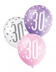 Geburtstagsballons 30 Jahre Jubiläums-Luftballons 6 Stück bunt 30cm