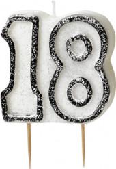 Geburtstagskerze 18 Jahre Tortendeko schwarz-weiss