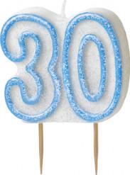 Geburtstagskerze 30 Jahre Tortendeko blau-weiss