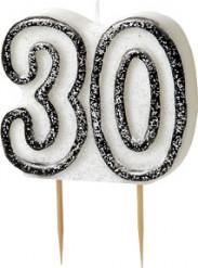 Geburtstagskerze 30 Jahre Tortendeko schwarz-weiss