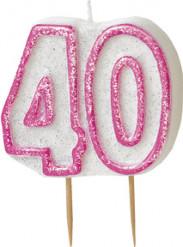 Geburtstagskerze 40 Jahre Tortendeko rosa-weiss
