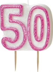 Geburtstagskerze 50 Jahre Tortendeko rosa-weiss